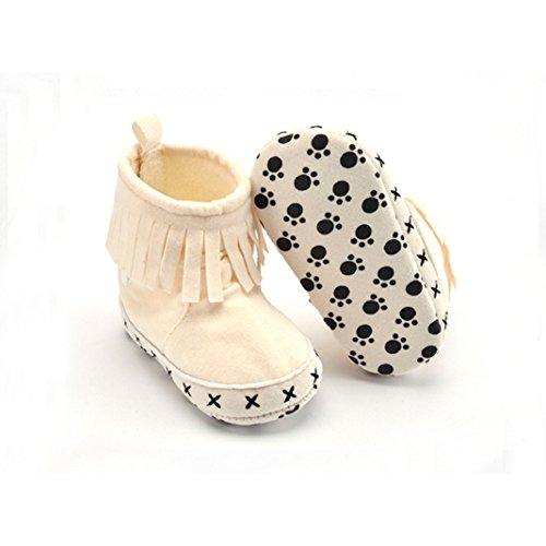 Lauflernschuhe,Amcool Luxus Junge Mädchen Weiche Sohle Schneestiefel Weich Krippe Schuhe Kleinkind Stiefel (Alter:0-3 Monate, Schwarz) Beige