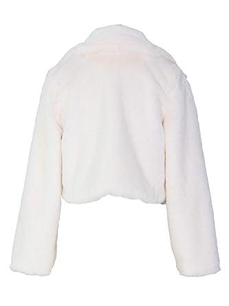 Ramoug Womens Winter Outwear Faux Fur Long Sleeve Short Jacket Parka Coat Open Front Cardigans by Ramoug