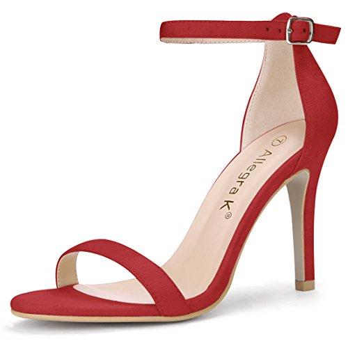 Allegra K Womens Cinturino Alla Caviglia Stiletto Rosso Con Tacchi Alti a0aff004558