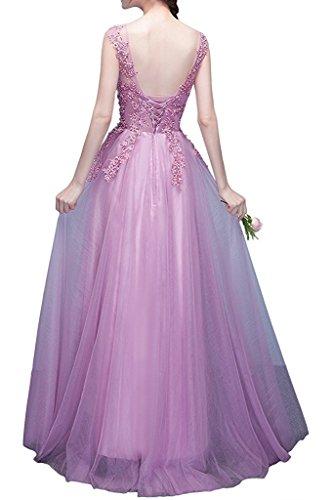 Brautmutterkleider Lang Promkleider Prinzess Marie Rosa mit Spitze La Dunkel A Rot Abendkleider Braut Glamour Linie qUaXxXwg1f