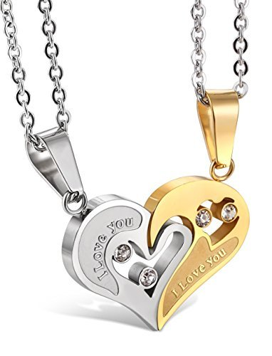 (Jstyle Stainless Steel Mens Womens Couple Necklace Friendship Puzzle CZ Love Matching Heart Pendants by Jstyle)