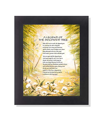 10 Framed Legends - Legend of The Dogwood Tree Christian Religious Black Framed 8x10 Art Print