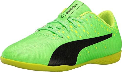 Puma Kids Unisex Evopower Vigor 4 IT Jr Soccer (Little Kid/Big Kid) Green Gecko/Puma Black/Safety Yellow Oxford