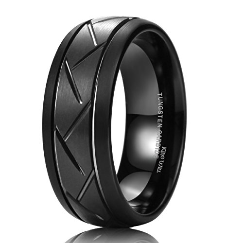 King Will TYRE Men's 8mm Black Domed Tungsten Carbide Ring Matte Finish Groove Design Wedding Bands 11.5