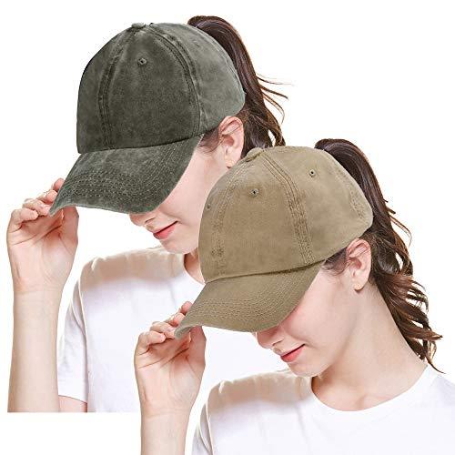 (Women Baseball Cap Ponytail High Bun Hat Glitter Messy Sun Hat Washed Cotton Adjustable Trucker Hat for Girl 2pack-Army Green&Khaki)