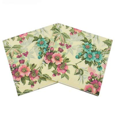 WallyE Shabby Chic Floral Paper Napkins for Thanksgiving Garden Party or Wedding,40 Pack - Shabby Table Folding