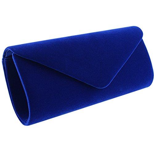 Jubileens Wedding Evening Party Velvet Clutch Bag Retro Envelope Cross Body Handbag (Blue), Small
