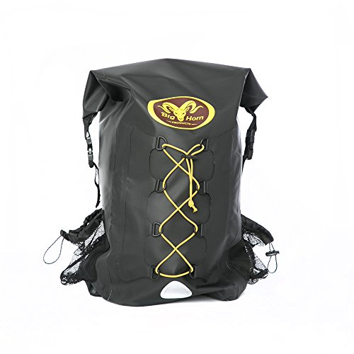 Waterproof Backpack by Big Horn Products - Large 30L Rolltop Dry Bag Perfect for Outdoor Adventures (Black)