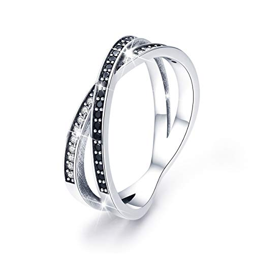 BAMOER Sterling Silver White Gold Plated Engagement Love Wedding Ring with CZ for Women Gift Size 6 to 8