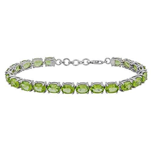 Fine Peridot Tennis Bracelet in Sterling Silver by Luv Eclipse