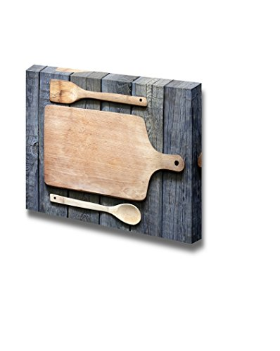 Vintage Cutting Board on Planks Food Kitchen Concept Wall Decor ation