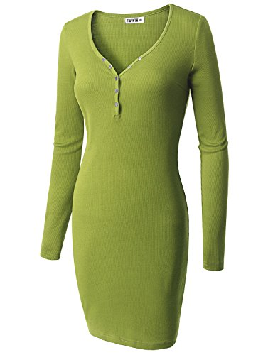 Doublju Fitted Button Down Henley Ribbed Knit Dress (Plus size available) LIGHTGREEN 3XL