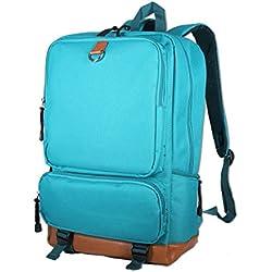 Rock.holick Vintage Canvas Laptop Backpack School College Rucksack Bag (Teal)