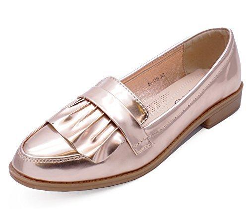 HeelzSoHigh Damen Rotgoldene Halbschuhe Hineinschlüpfen Lässig Elegant Works Patent Bequeme Schuhe Größen 3-8