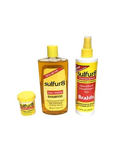 - Sulfur 8 Medicated Deep Cleaning Shampoo 11.5 oz, Sulfur 8 Medicated Anti-Dandruff Hair and Scalp Conditioner 2 oz with Sulfur 8 Medicated Dandruff Treatment for Braids Spray 12 oz- Bundle Set