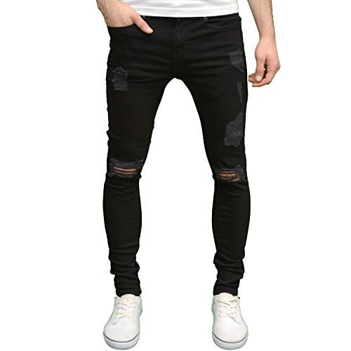 Enzo Mens Designer Ripped Stretch Skinny Distressed Jeans (28W x 30L, Black)