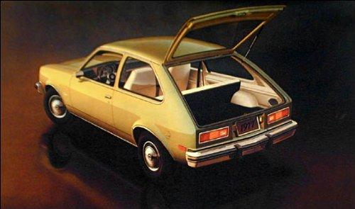 1977 CHEVROLET CHEVETTE HATCHBACK COUPE FACTORY ORIGINAL COLOR POSTCARD - USA - NICE !! ()