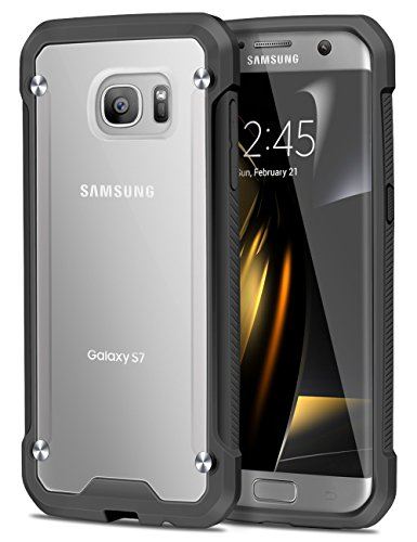 ELOVEN Translucent View Series Galaxy S7 Case with Hard Back Cover Soft Bumper Shell Nonslip Impact Resistant Antiscratch Shockproof for Samsung Galaxy S7, Black