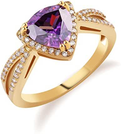 GULICX Women's Ring Gold Tone Brass Cubic Zirconia Purple Amethyst-color Size 7,8,9,10