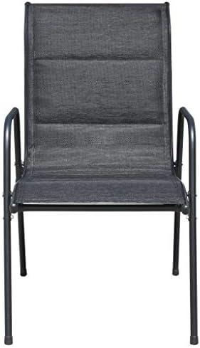 Chaises empilables de jardin 6 pcs Acier et textilène Noir