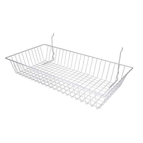 Chrome Multi Use Wire Basket Slatwall Gridwall Pegboard Slatgrid 24''W x 12''D x 4''H Lot of 6 - New by Only Garment Racks