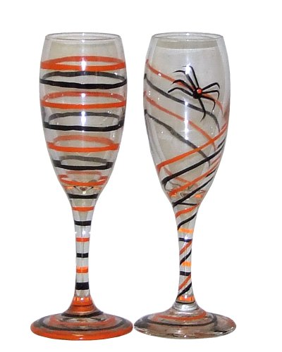 ArtisanStreet's Halloween Champagne Flutes. Orange & Black Circles or Swirls. Set of 2. Hand Painted