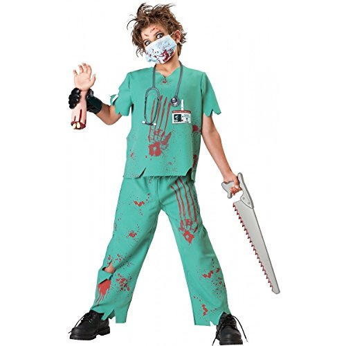 [InCharacter Costumes, LLC Boys 8-20 Dr. N. Sane Shirt and Pant Set, Turqoise, Medium] (Kids Zombie Doctor Costumes)