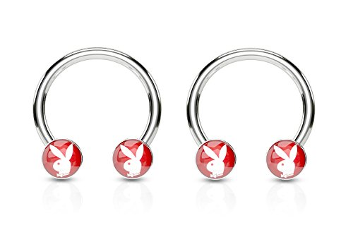 Licensed Playboy Bunny Logo Circular Barbell Nipple Rings in 316L Stainless Steel - Available in Multiple Colors - Sold as a Pair (Nipple Circular Barbell Ring)