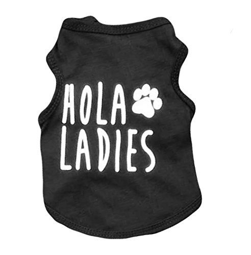 Ollypet Cool Dog Shirt Black Clothes For Small Pets Cats Boy Funny Clothing Hola Ladies Summer Teacup Apparel Top L