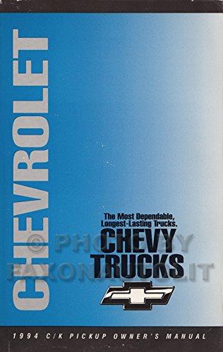 Chevrolet C/k Truck Owners Manual - 1994 Chevrolet C/K Pickup Truck Owner's Manual Original 1500-3500 Cheyenne Silverado WT