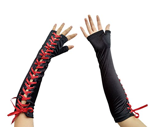 Women Long Fingerless Lace Up Gloves Banquet Evening Tea Party Bridal Wedding (A Black Red) ()