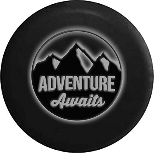 (White -Adventure Awaits Glowing Off Road RV Camper Spare Tire Cover Dealer Grade 28 in)