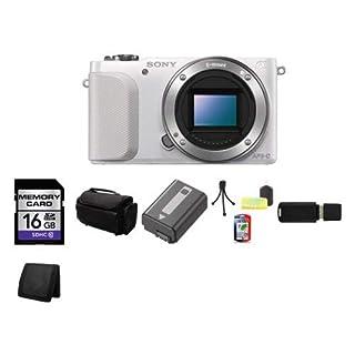 Sony Alpha NEX-3N/W NEX-3N NEX3N NEX3NW Mirrorless Digital Camera Body Only (White) + USB SDHC Reader + Memory Wallet