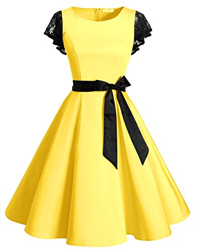 BeryLove Women's Vintage 50s Lace Sleeves Retro Rockabilly Swing Coaktail Party Dresses BLV8002Yellow3XL - 1950s Costumes Australia
