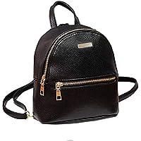 JSPM® PU Leather Mini Backpack School Bag Student Backpack Women Travel bag Tuition Bag Backpack (Black SP-0340)