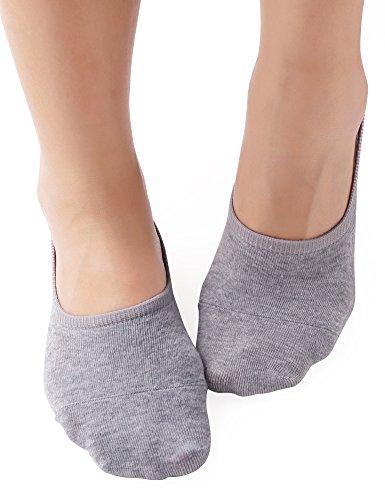 VERO MONTE 4 Pairs Womens No Show Socks Cotton(2Black+2Grey,6-7.5) -bootie socks by VERO MONTE