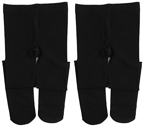 Comfy Tights (Dancina Footed Dance Tights Kids' Soft Comfy Nylon Stretch Large Size Leggings L (10-14) Black x2)