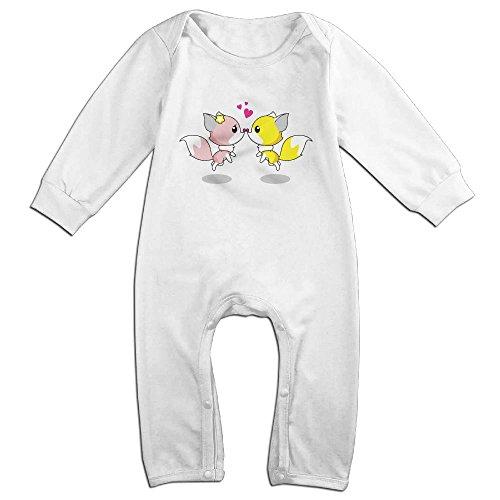 Tongbu Cartoon Foxes Romantic Couple Baby's Bodysuit Climb Clothes Boy & Girl Soft Cotton Long Sleeve Romper Jumpsuit 24 MonthsWhite