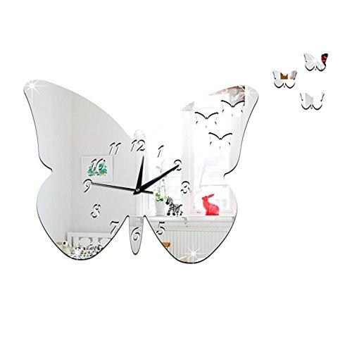 ion Butterfly Princess Mirror Quartz Wall Clock B silver ()