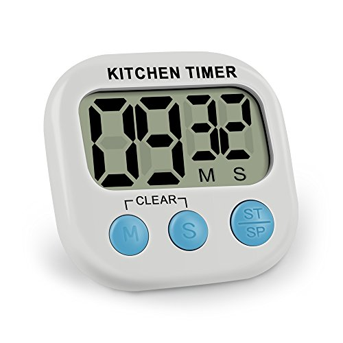 Digital Kitchen Timer,Large LCD Display Digital Lound Timer with Loud Alarm Magnetic Back and Retractable Stand, Minute Second Count Up Countdown (Includes Battery)