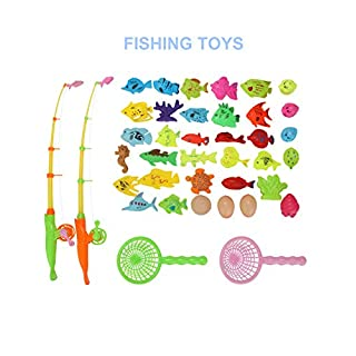 Sopownic Magnetic Fishing Pool Toys, Water Table Bathtub Toy with Plastic Floating Fish Ocean Sea Animals, Idea for Age 3 4 5 6 Years Old