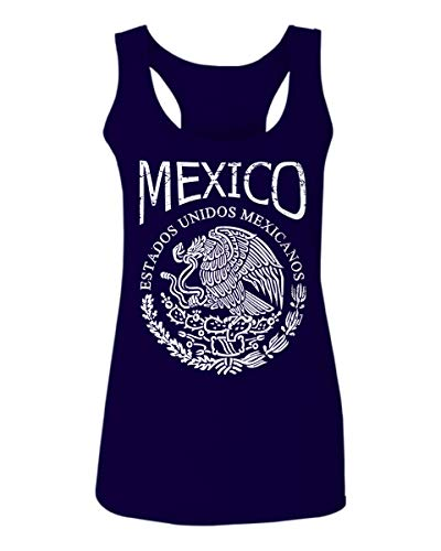 VICES AND VIRTUESS Front Hecho En Mexico Mexican Flag Coat of Arms Escudo Mexicano Women's Tank Top Sleeveless Racerback (Navy Blue, Large)