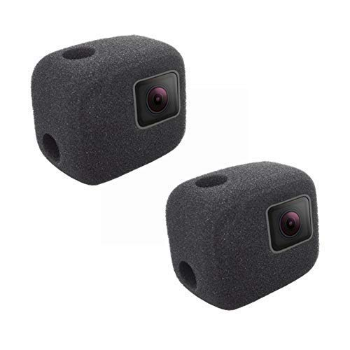 (2 Pack Windshield Wind Noise Reduction Foam Sponge Cover Windproof Housing Case Compatible with GoPro Hero 7 5 6 (2018) Black Camera)