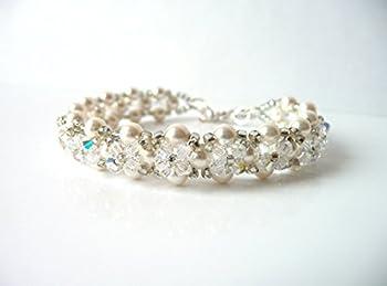 Flower Girl Bracelet, Childrens Pearl and Crystal Jewelry Bracelet Gift, CHOOSE COLOR AND SIZE, Swarovski Crystal, Adjustable Bracelet, Beaded Bracelet, Handwoven