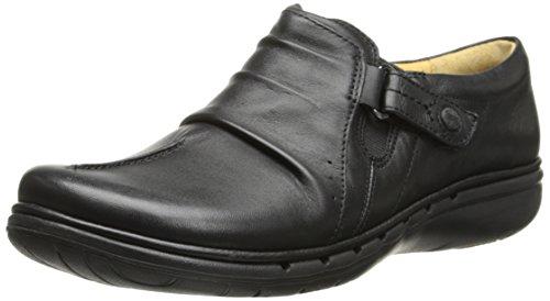 Clarks Un Casey plana Black Leather