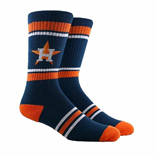 PKWY MLB Stripe Crew Socks (Several Teams Available) - Size Large Fits 6-12 (Houston Astros, ()