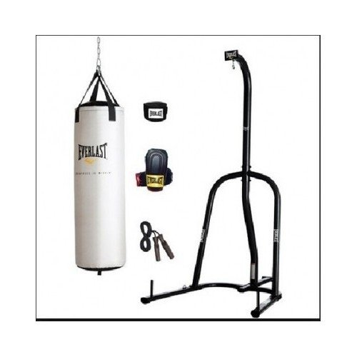 Everlast 80 lb. Platiunum Heavy Bag, Boxing Gloves, Wrist Wraps, Jump Rope and Heavy Bag Stand Bundle by Everlast