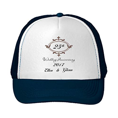 Personalized Custom Text Wedding Anniversary 25th Frame Unisex Adult Snaps Polyester Trucker Hat Adjustable Cap - Navy