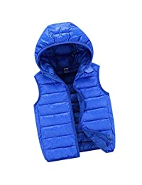 zhruiqun Waistcoat Children's Vest Coat Boys Girls Jacket Solid Zip Warm Outerwear