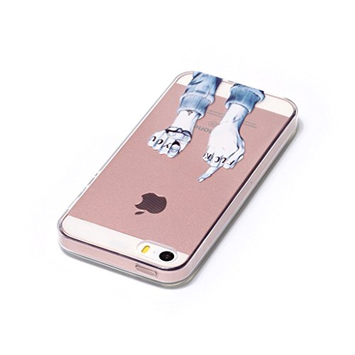 iPhone 5 / 5S SE Coque , Leiai Transparent Mode Ultra-mince Doigt Silicone Doux TPU Housse Gel Etui Case Cover pour Apple iPhone 5 / 5S SE